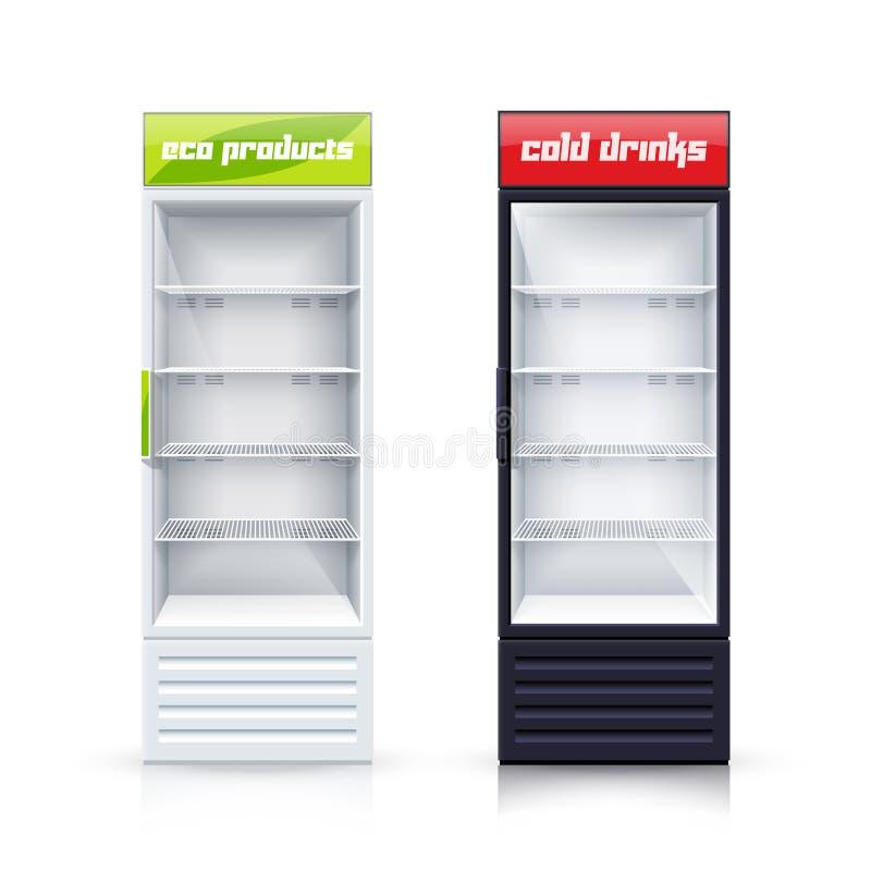 Ilustração realística de dois refrigeradores vazios ilustração stock