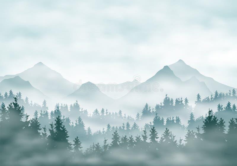 Ilustração realística de silhuetas da paisagem da montanha com floresta e as árvores coníferas Enevoe o embaçamento ou as nuvens  ilustração stock