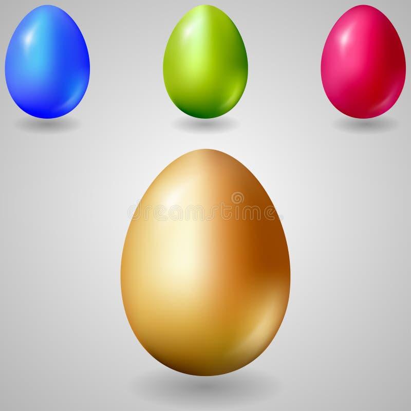 Ilustração realística de três ovos da páscoa ilustração stock