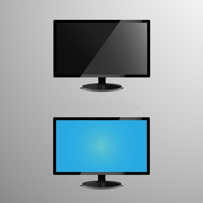 Ilustração realística de um monitor do LCD com tela editável, mais a tela quando sua quietude ou fora ilustração stock
