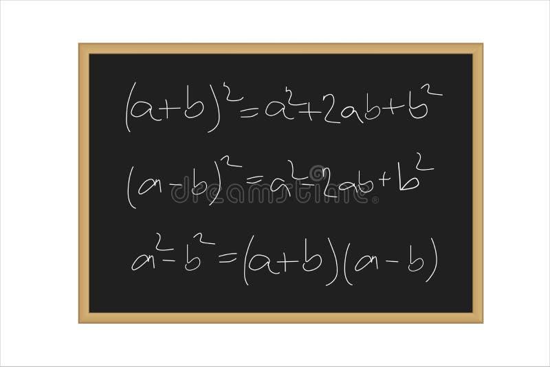 Ilustração realística de uma placa preta com as fórmulas matemáticas escritas no giz ilustração royalty free