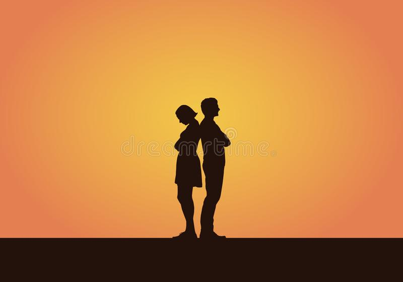 Ilustração realística de uma silhueta de um par jovens, homens e mulheres após uma discussão ou um desacordo Isolado no ilustração royalty free