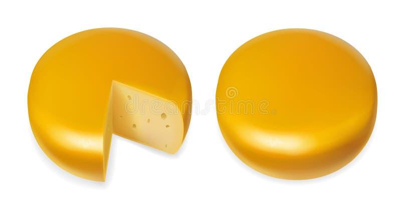 Ilustração realística do ícone do vetor da cabeça amarela do queijo ilustração royalty free