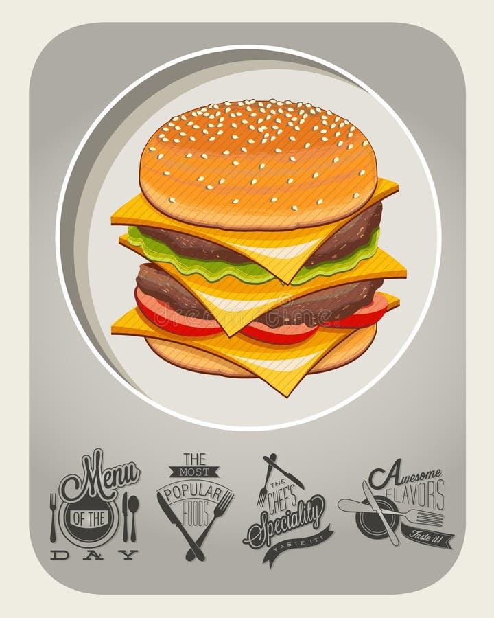 Ilustração realística do cheeseburger ilustração royalty free