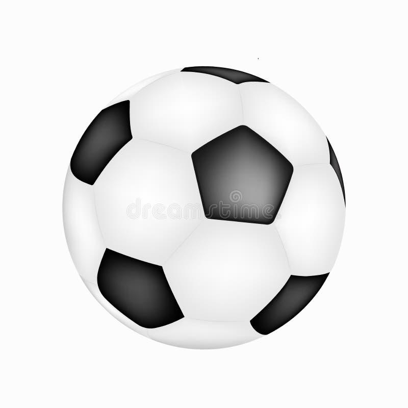 Ilustração realística do futebol Ícone verdadeiro do vetor da bola de futebol Esfera de futebol realística ilustração stock