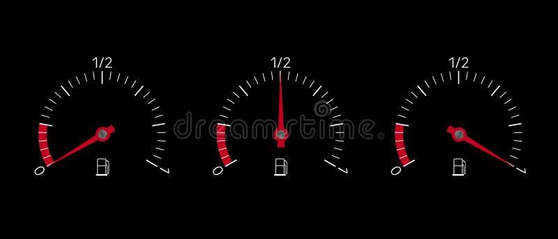 Ilustração realística do indicador de combustível ajustada com o tanque completo, vazio e meio Isolado no fundo preto, vetor ilustração stock