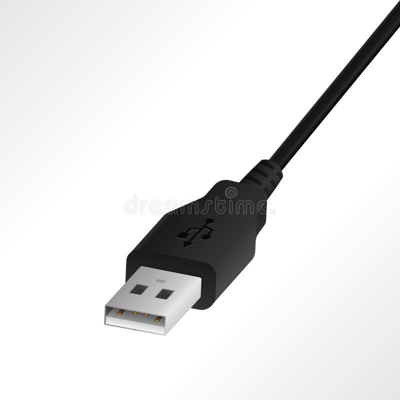 Ilustração realística do vetor do cabo de USB OTG ilustração do vetor