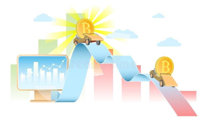 Ilustração realística do vetor do conceito da taxa de Bitcoin ilustração stock