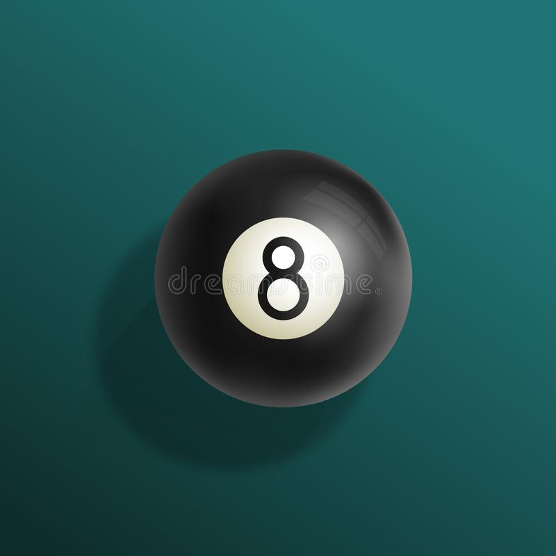 Ilustração realística do vetor da bola dos bilhar oito Pano de mesa de bilhar verde com esfera preta e sombras macias Sumário ilustração stock