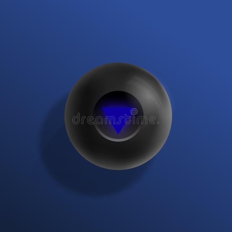 Ilustração realística do vetor da bola da mágica oito dos bilhar Fundo azul com esfera preta e sombras macias Sumário ilustração do vetor