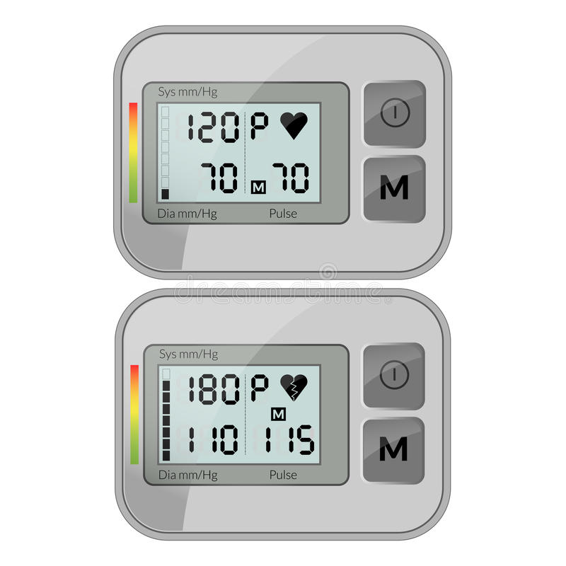Ilustração realística do vetor do punho de medição da pressão sanguínea ilustração royalty free