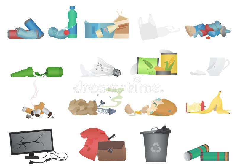 Ilustração realística do vetor do grupo dos ícones do lixo e do desperdício ilustração royalty free
