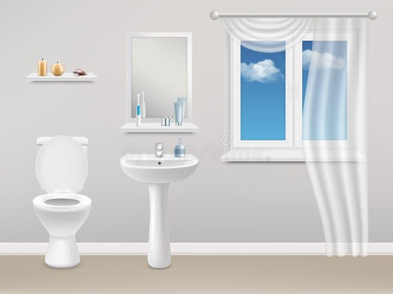 Ilustração realística do vetor interior do banheiro ilustração royalty free