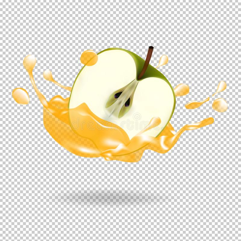 Ilustração realística do vetor do respingo do suco de fruto de Apple ilustração stock