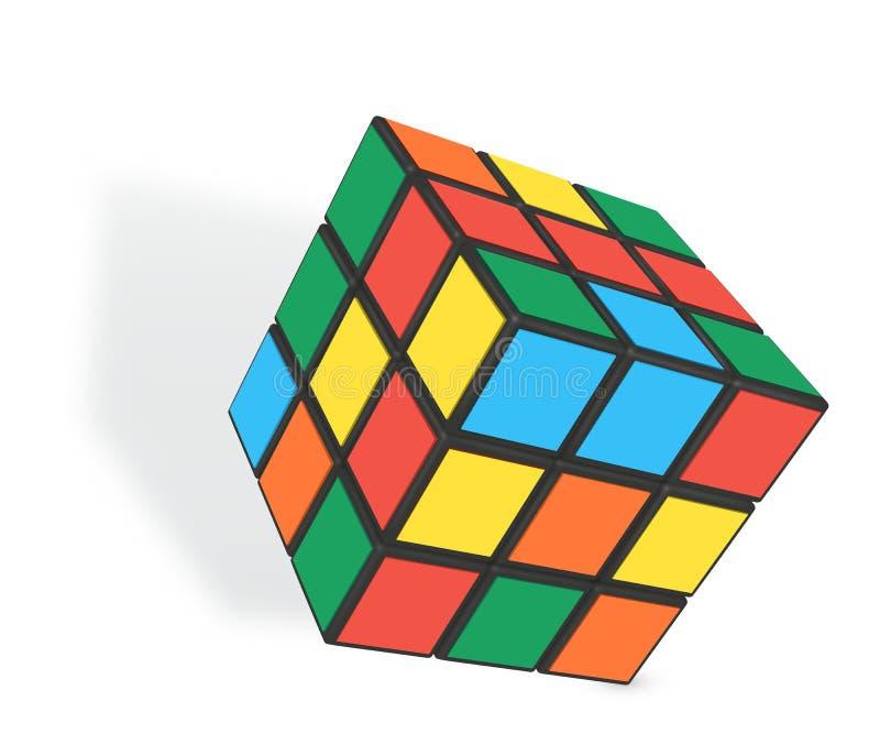 Ilustração realística editorial do vetor do cubo de Rubik s ilustração royalty free