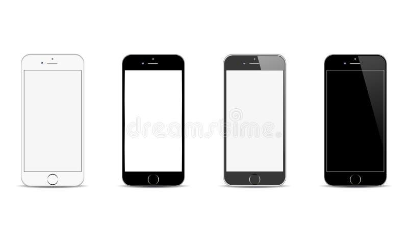 Ilustração realística positiva do telefone celular de Apple Iphone 6 Android do vetor ilustração do vetor