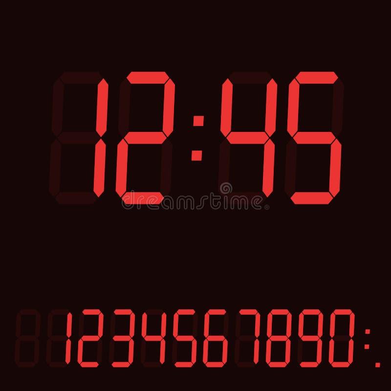 Ilustração realista da exibição do relógio digital ou do contador de tempo com exibição vermelha e conjunto de números e sinais,  ilustração do vetor