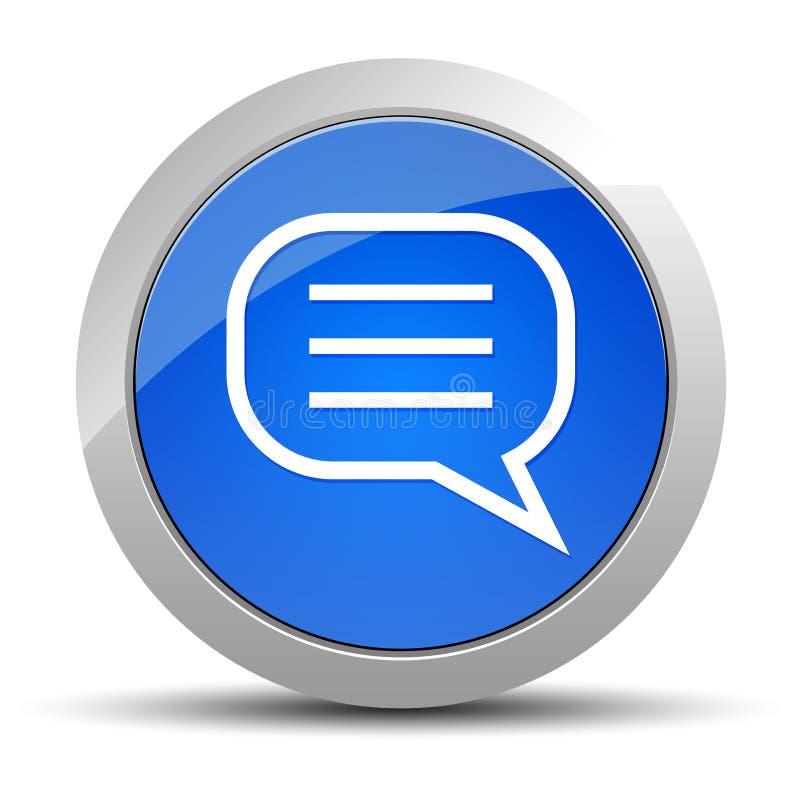 Ilustração redonda azul do botão do ícone do comentário ilustração royalty free