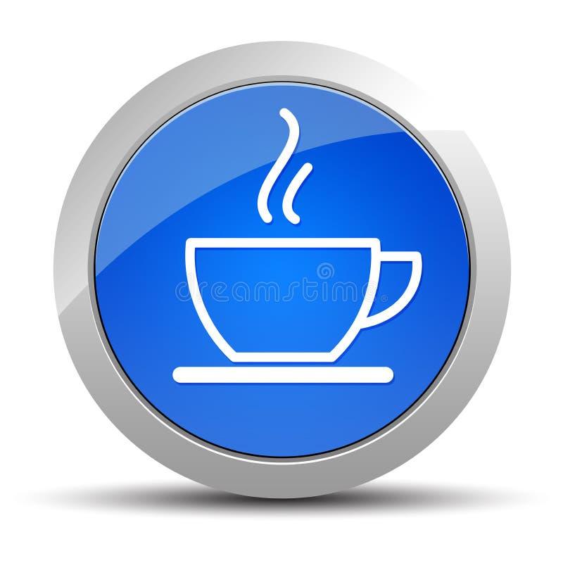 Ilustração redonda azul do botão do ícone do copo de café ilustração royalty free