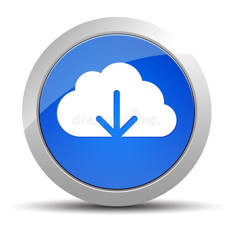 Ilustração redonda azul do botão do ícone da transferência da nuvem ilustração do vetor