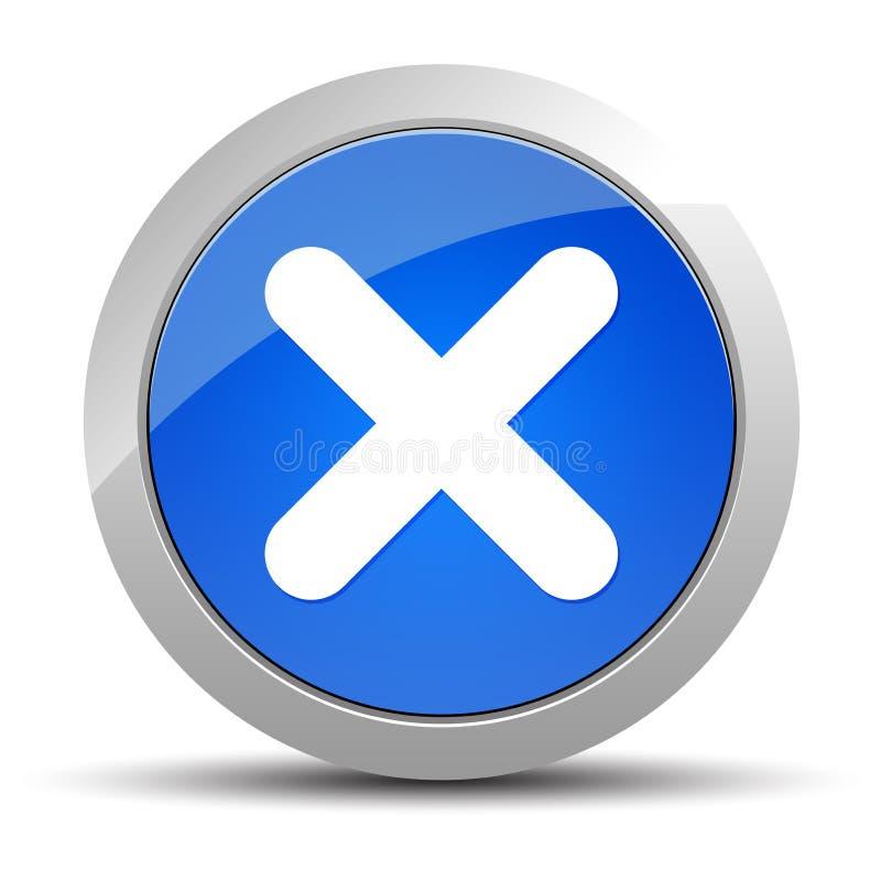 Ilustração redonda azul do botão do ícone transversal ilustração stock