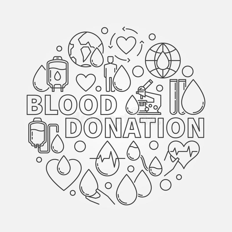Ilustração redonda da doação de sangue ilustração royalty free