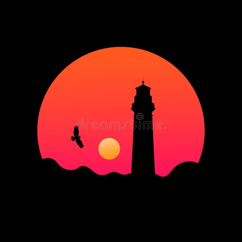 Ilustração redonda da paisagem com a silhueta do farol no por do sol ilustração do vetor