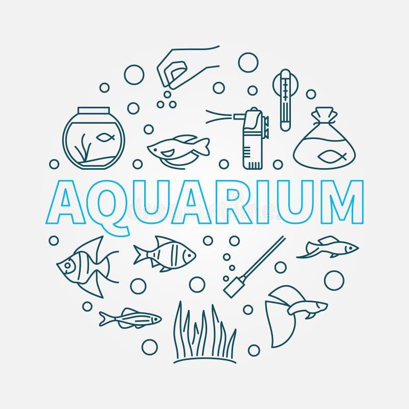 Ilustração redonda do vetor do aquário feita da linha ícones ilustração do vetor
