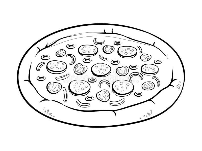 Ilustração redonda do vetor do livro para colorir da pizza ilustração do vetor