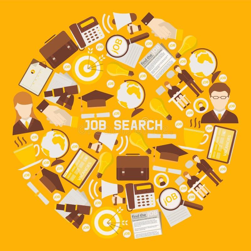 Ilustração redonda do vetor do teste padrão do conceito da carreira da ocupação do recrutamento da carreira da procura de emprego ilustração stock