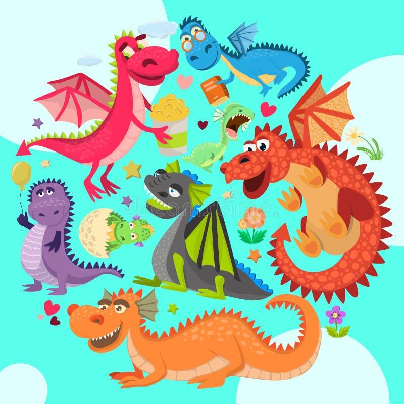 Ilustração redonda do vetor do teste padrão dos dragões do bebê Drag?es engra?ados dos desenhos animados com asas Dinossauros fee ilustração stock