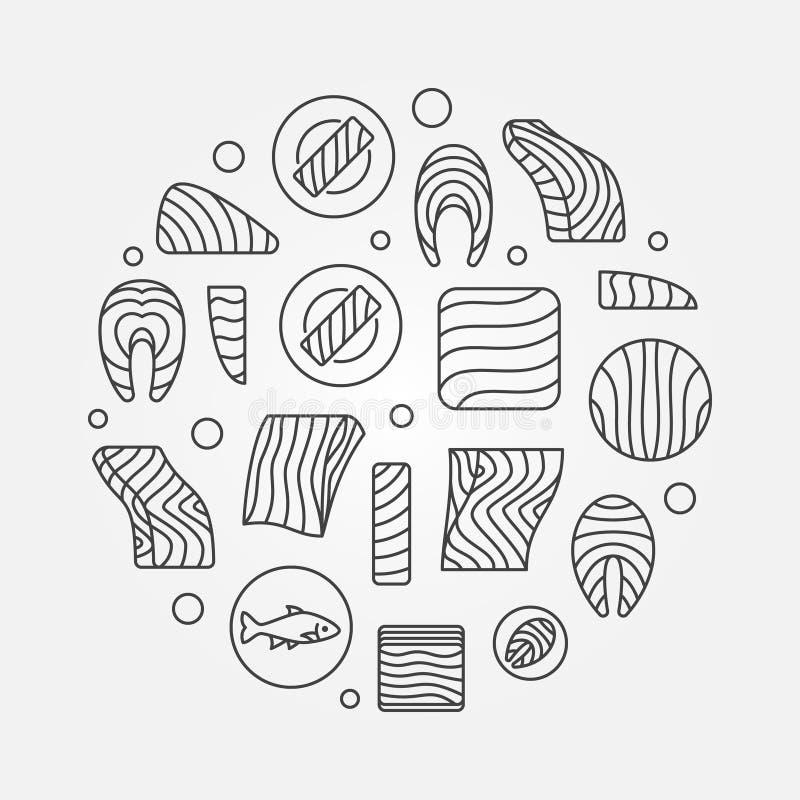Ilustração redonda dos salmões ou da truta Linha vermelha sinal dos peixes do vetor ilustração do vetor