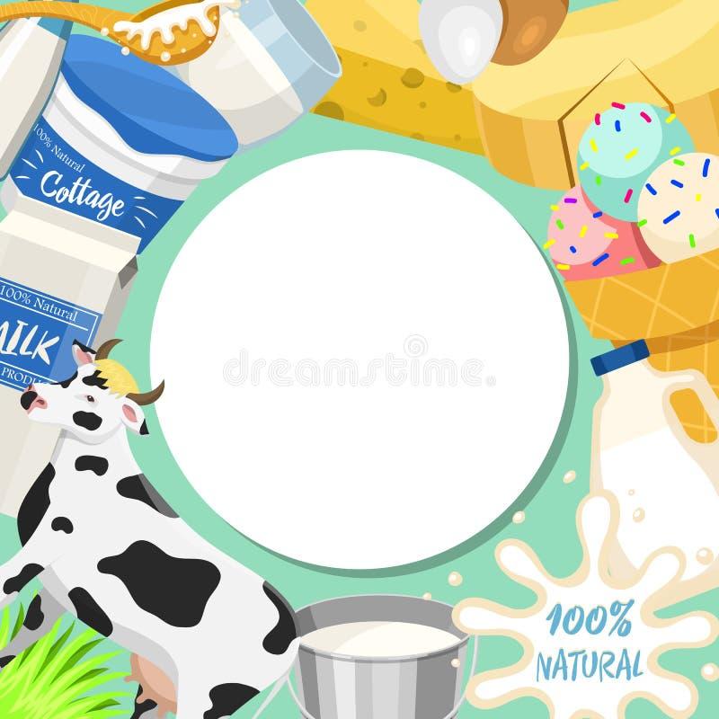 Ilustração redonda fresca do vetor do teste padrão do conceito de produtos láteos Org?nico, alimento da qualidade Grande gosto e  ilustração stock