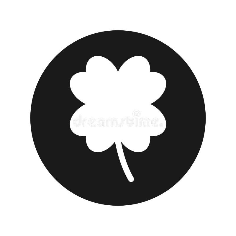 Ilustração redonda preta lisa do vetor do botão do ícone afortunado do trevo de quatro folhas ilustração stock