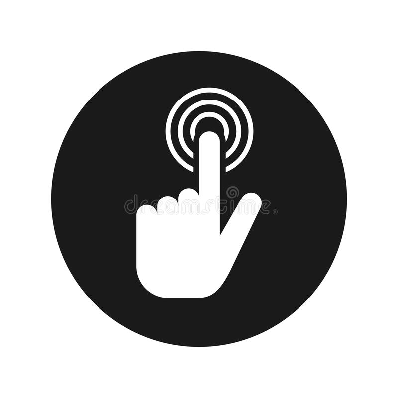 Ilustração redonda preta lisa do vetor do botão do ícone do clique do cursor da mão ilustração royalty free