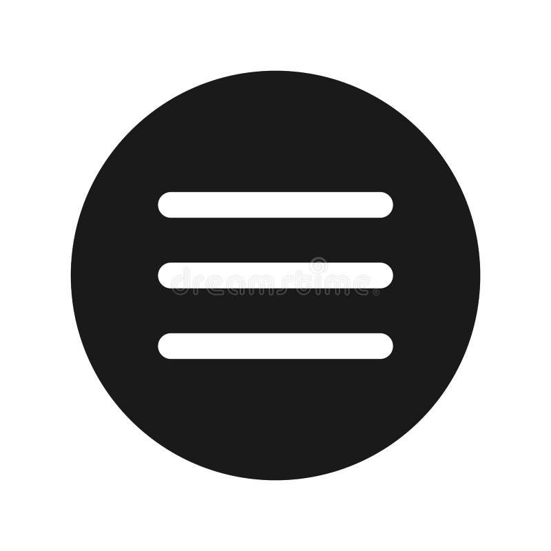 Ilustração redonda preta lisa do vetor do botão do ícone da barra de menu do Hamburger ilustração stock