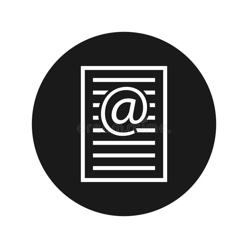 Ilustração redonda preta lisa do vetor do botão do ícone da página do endereço email ilustração do vetor