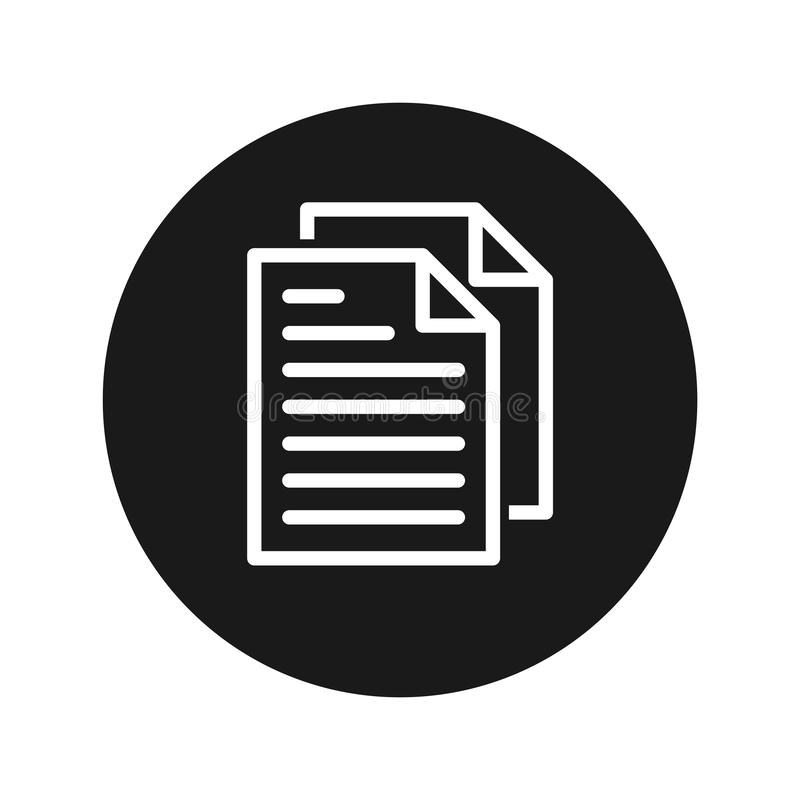 Ilustração redonda preta lisa do vetor do botão do ícone das páginas do documento ilustração royalty free