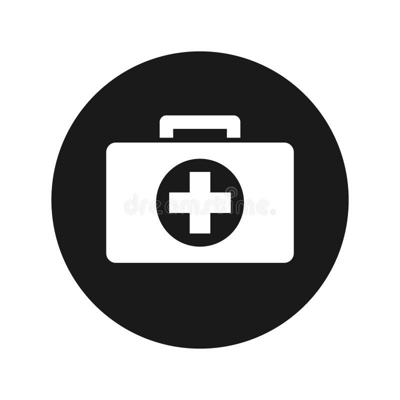Ilustração redonda preta lisa do vetor do botão do ícone do kit de primeiros socorros ilustração royalty free