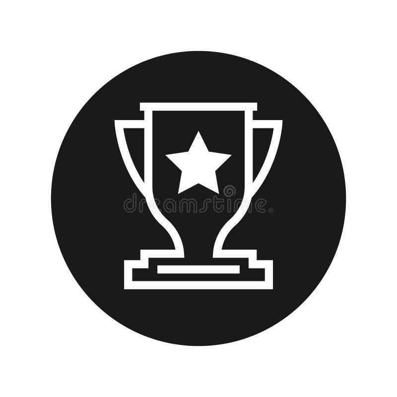 Ilustração redonda preta lisa do vetor do botão do ícone do troféu ilustração do vetor