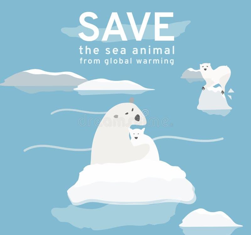A ilustração reflete os problemas ambientais atuais do urso polar, gelo constantemente está derretendo, resolve o aquecimento glo ilustração stock