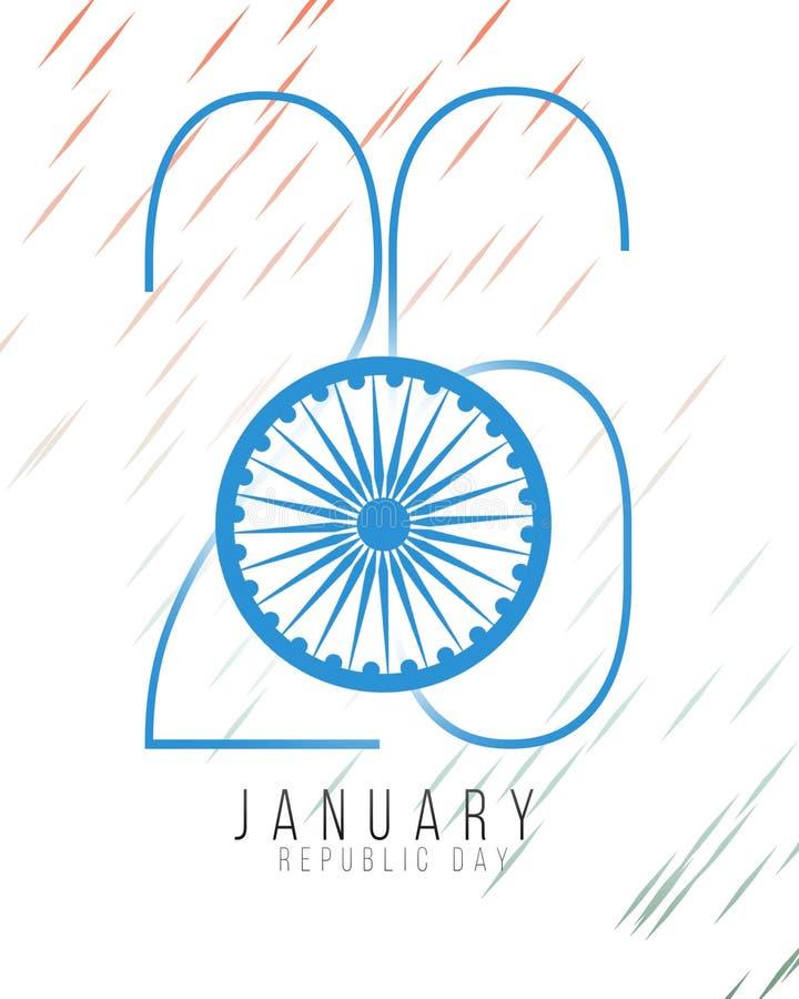 Ilustração república dia da celebração indiana feliz do 26 de janeiro da Índia ilustração do vetor