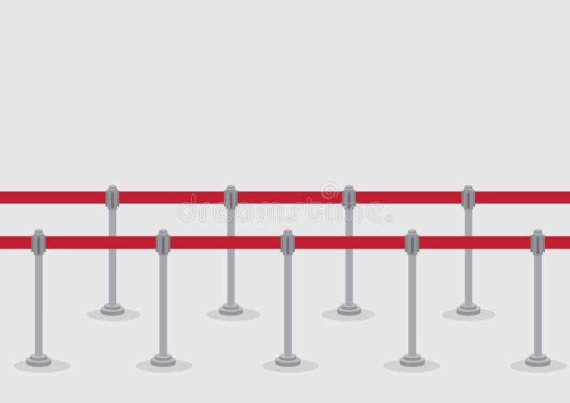 Ilustração retrátil do vetor dos postes da fila da correia ilustração do vetor