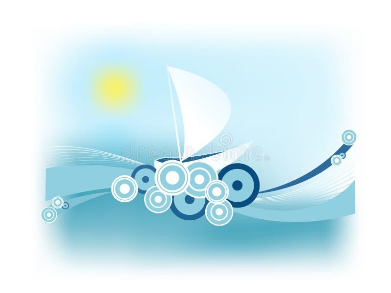 Ilustração retro abstrata com um barco de navigação ilustração royalty free