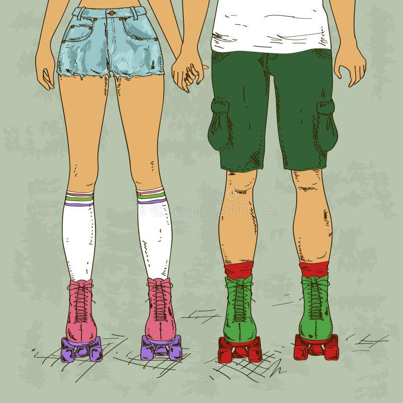 Ilustração retro com menina e menino no ska do rolo ilustração do vetor