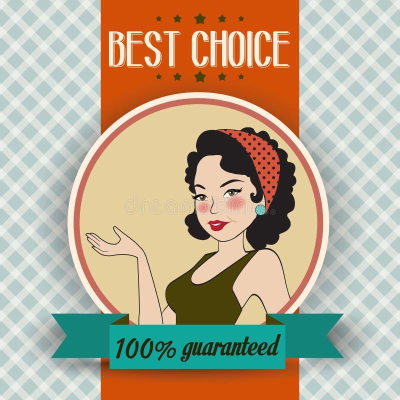Ilustração retro de uma mulher bonita e de uma melhor mensagem bem escolhida ilustração royalty free