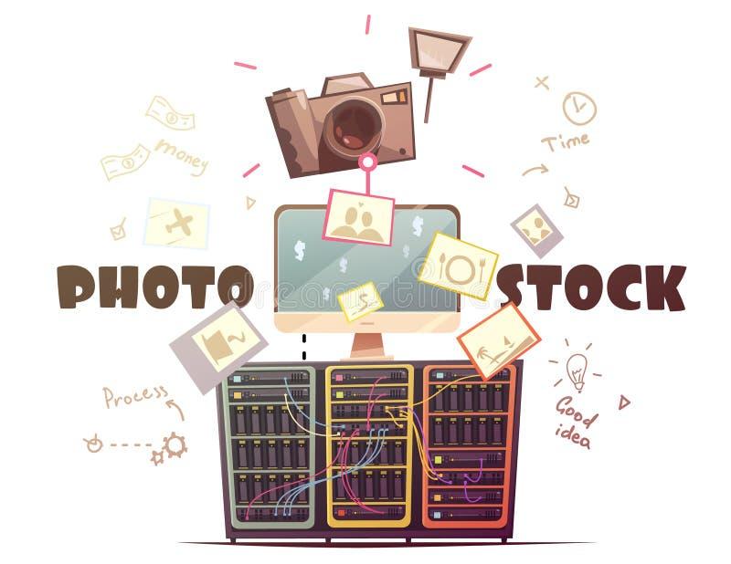 Ilustração retro do conceito da indústria de Microstock da foto ilustração stock
