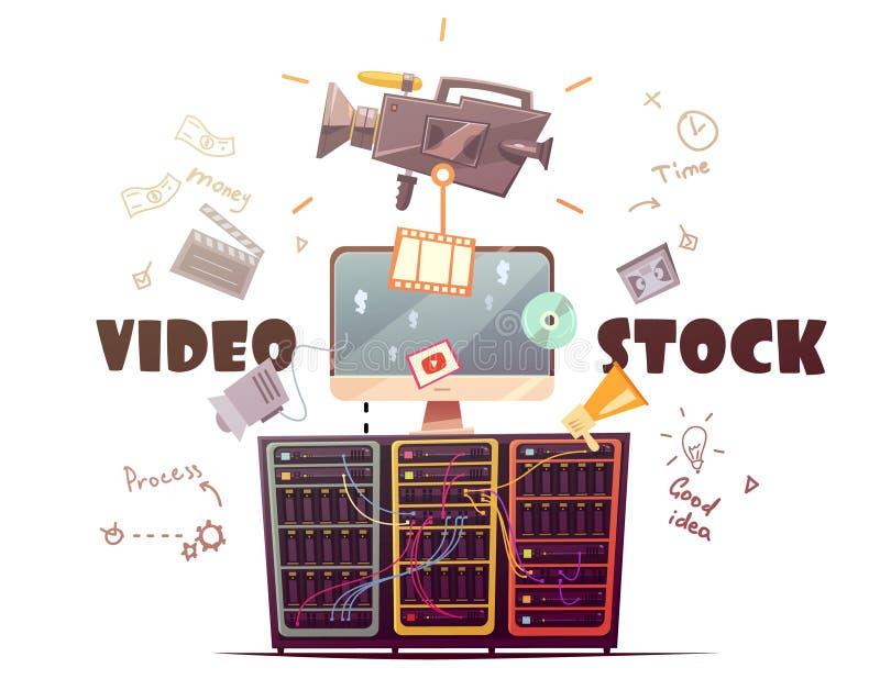 Ilustração retro do conceito video da indústria de Microstock ilustração do vetor