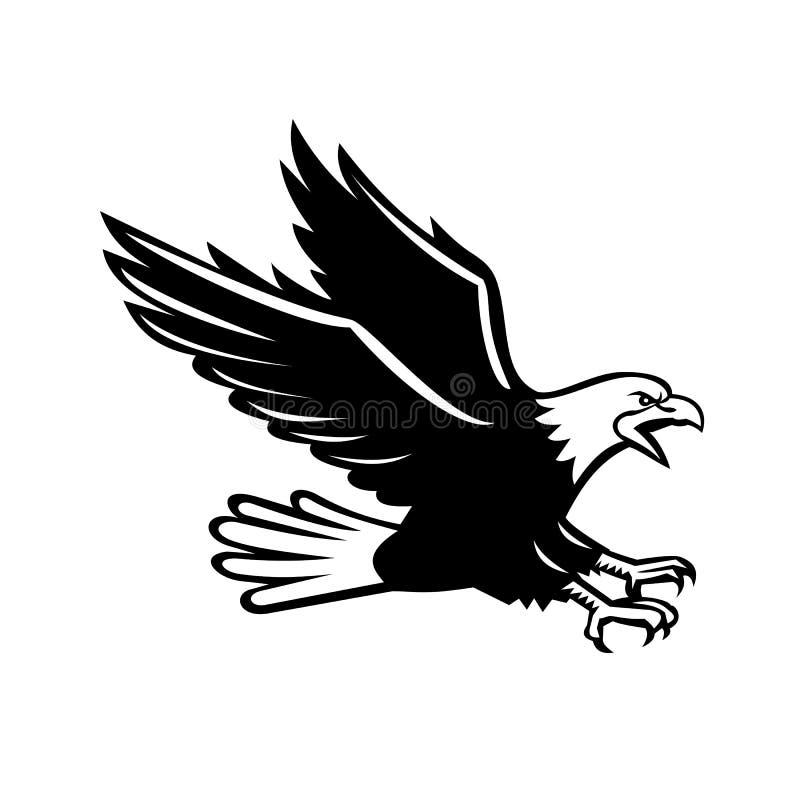 Ilustração retro do estilo de uma águia americana gritando com swooping das garras para fora visto do lado no fundo isolado em pr ilustração stock