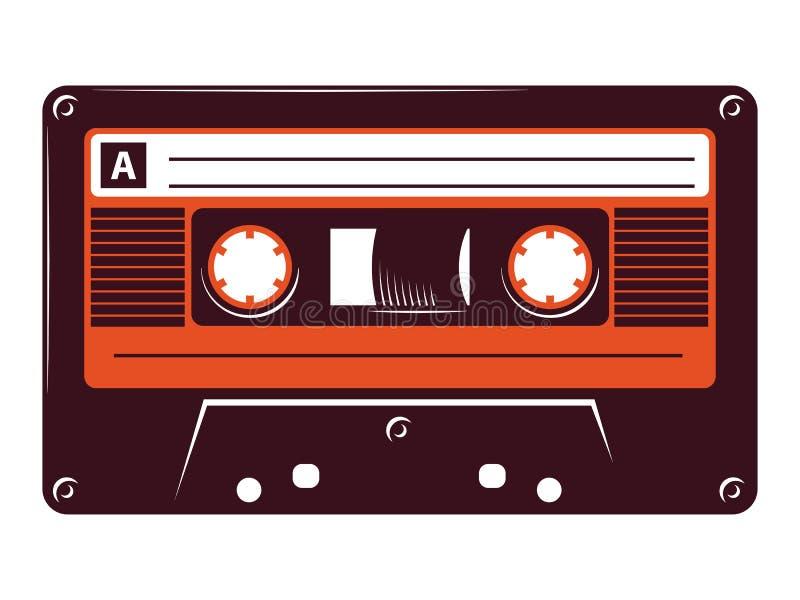 Ilustração retro do vetor da cassete de banda magnética do vintage no fundo branco ilustração stock
